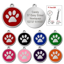 Customized Dog ID Tag Pet Personalized Tags Engraved Round Paw Pet Namep... - $17.99
