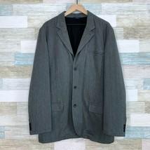 GAP Blazer Car Pea Coat Gray Cotton Herringbone Lined Mens Size Large - $49.49