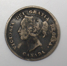 1881 H CANADA 5 CENT SILVER COIN HEATON, BIRMINGHAM  MINT #DBW - $8.90