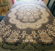 "TABLECLOTH White Cutout Lace Floral Design 71"" X 82""  Exc Pre-Owned (CC) - $64.99"
