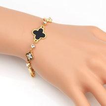 UE-Designer Clover Bracelet-Swarovski Style Crystals, Faux Onyx, Mother of Pearl - $20.99