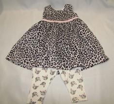 CARTERS BABY GIRL GRAY PINK BLACK SILVER LEOPARD DRESS KITTY CAT LEGGING... - $21.62