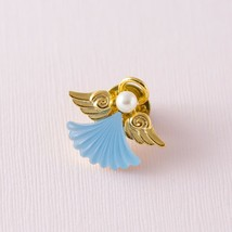 Vintage GG Blue & Gold Tone Frosted Glass Angel Faux Pearl Tie Tack Pin - $7.92