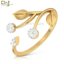 Diamond Open Ring Thin Dainty Engagement Ring For Women's Solid 10k Yell... - $289.99