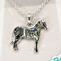 Storrs Wild Pearle Abalone Shell Zebra Horse Pendant w/ Silver Tone Necklace image 2