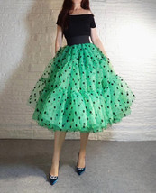 Emerald Green Polka Dot Tulle Skirt A-line Emerald Green Tulle Midi Skirt Outfit image 2