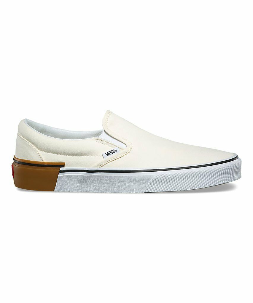 Vans Classic Slip On (Gum Block) Classic White Skate Shoes Womens Size 7