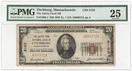 1929 U.S. Safety Fund National Bank Fitchburg, MA Currency Note T1 - PMG... - $163.63