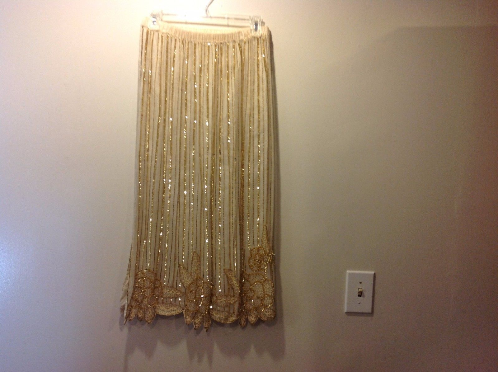 Pretty Ivory Colored Floral Pattern Beaded Embroidered Long Skirt