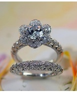 Gorgeous Floral Diamond Engagement Ring Bridal Set White Gold Plated 925... - $118.66