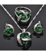 Classic Green Cubic Zirconia For Women Stamped 925 Silver Jewelry Set Pe... - $14.81