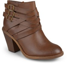 Journee Collection Women's Multi Strap Ankle Boots Brown 11 - £31.48 GBP