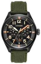 Citizen Men's 'Military' Quartz Stainless Steel and Nylon Casual Watch Green - $191.95
