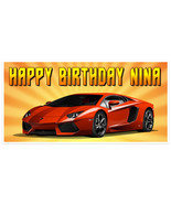 Orange Sports Car Racing Birthday Lamborghini Banner Personalized Party ... - $22.28