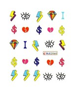 Water Transfer Watermark Art Nails Decal Sticker Manicure Symbol Diamond... - $1.98