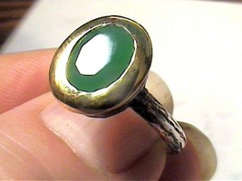 VINTAGE ANTIQUE  EMERALD SILVER RING 6.7 MEDIEVAL OVAL SMALL STERLING 92... - $54.99