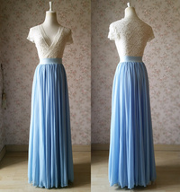 LIGHT BLUE Plus Size Chiffon Skirt Blue Bridesmaid Maxi Chiffon Skirts Plus Size image 6