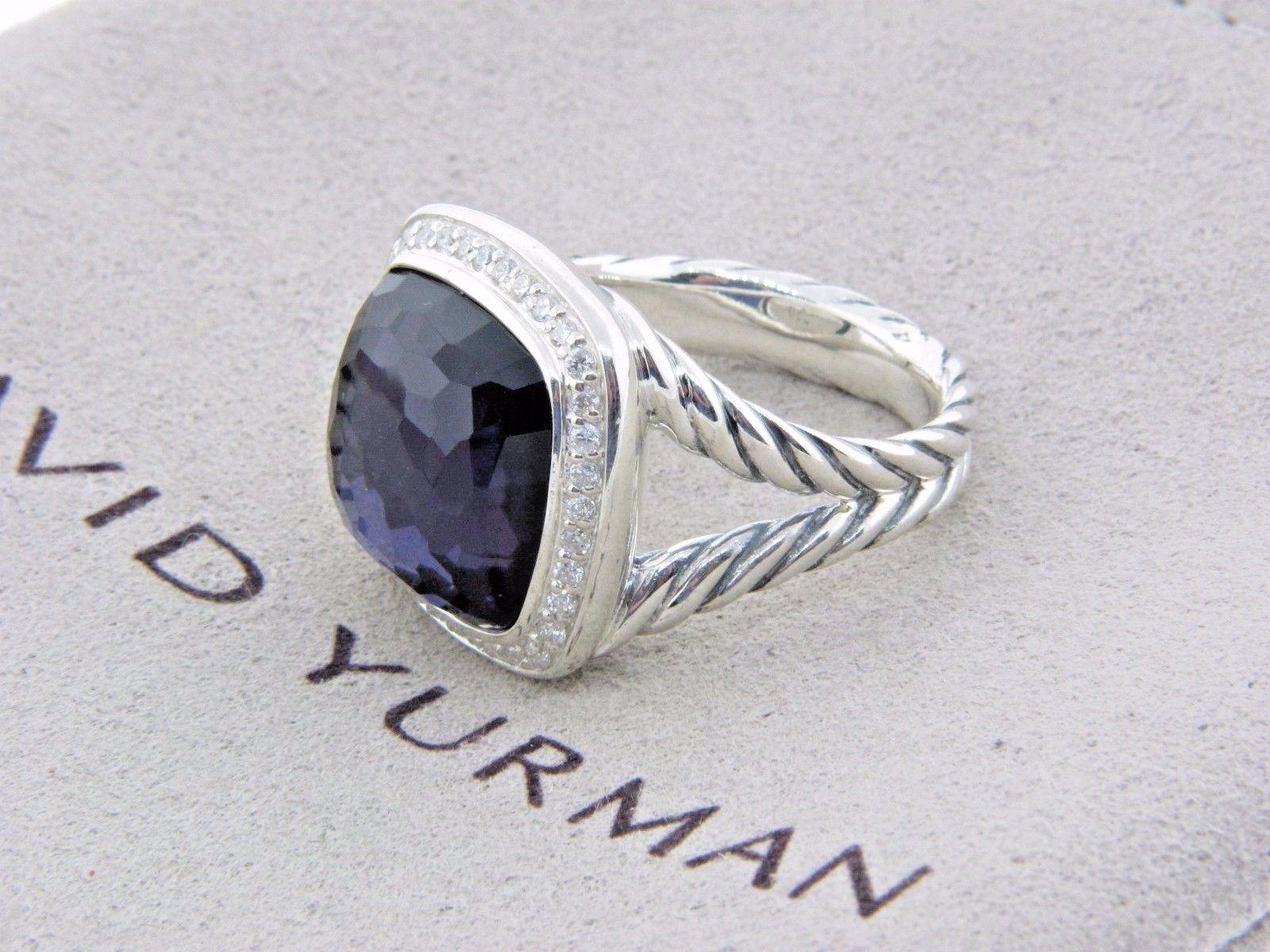 David Yurman Sterling Silver 14mm Black Orchid Diamond Albion Ring Size 8