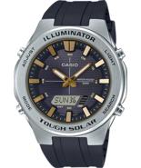Casio - AMW-S850-1AVCF- Men's Solar Stainless Steel Quartz Watch - Black - $89.05