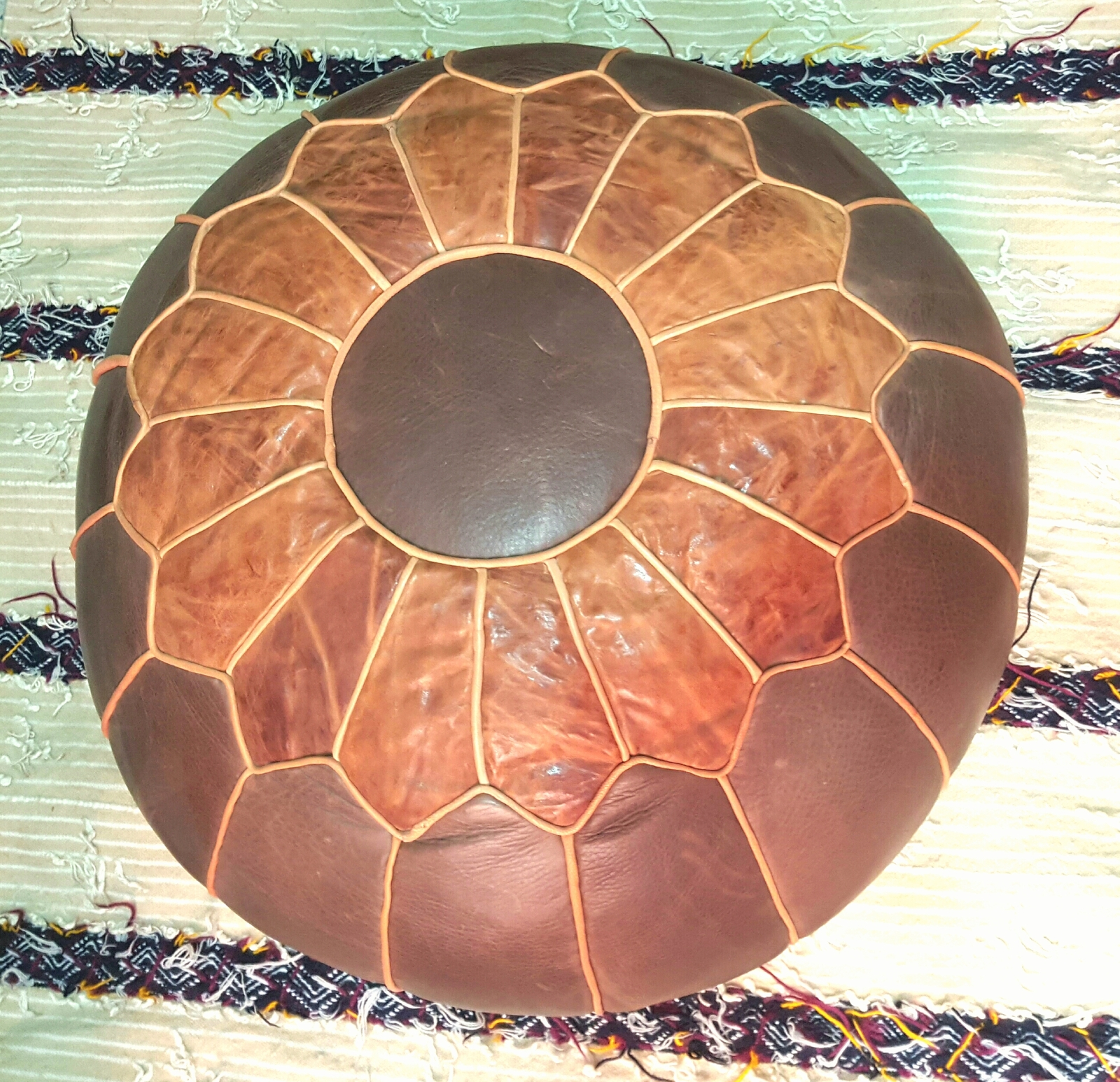 high leather pouf - Leather Pouf