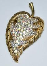 Vtg 1956 Crown Trifari Gold Tone Clear Ab Rhinestone Leaf Brooch Pin - $99.00