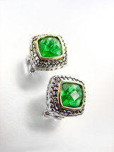 EXQUISITE Balinese Silver Wheat Cable Emerald Green CZ Crystal Square Ea... - $25.99