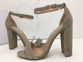 Steve Madden Carrson Taupe Nude Suede Ankle Strap Sandals Heels Size 6 M - $33.96