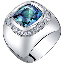 Men's Sterling Silver 7 Carat  Simulated Alexandrite Cushion Cut Ring - $145.99