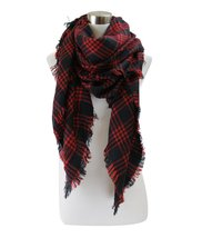 Classic Plaid Check Pattern Blanket Scarf (Red Plaid Black) - $12.86