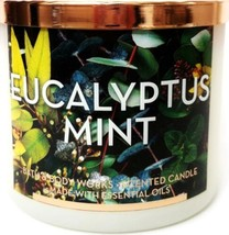 Bath and Body Works Eucalyptus Mint 3 Wick Frosted Jar Candle & Copper Lid - $25.86