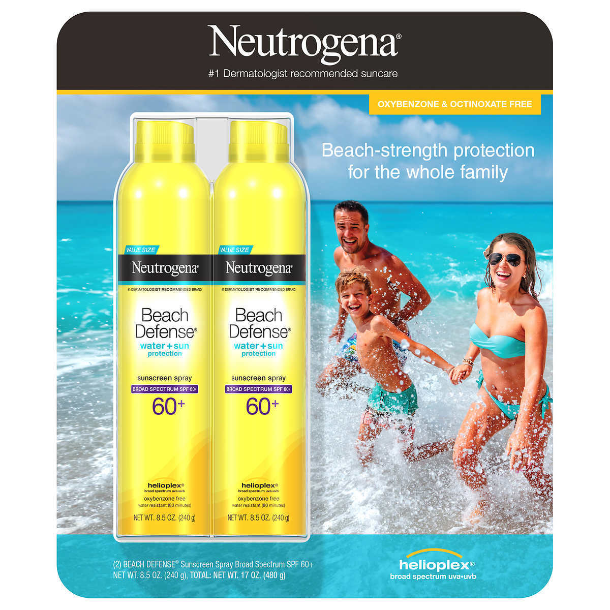 Primary image for Neutrogena Beach Defense Sunscreen Spray SPF 60+, 2-pack Water & Sun Protection.
