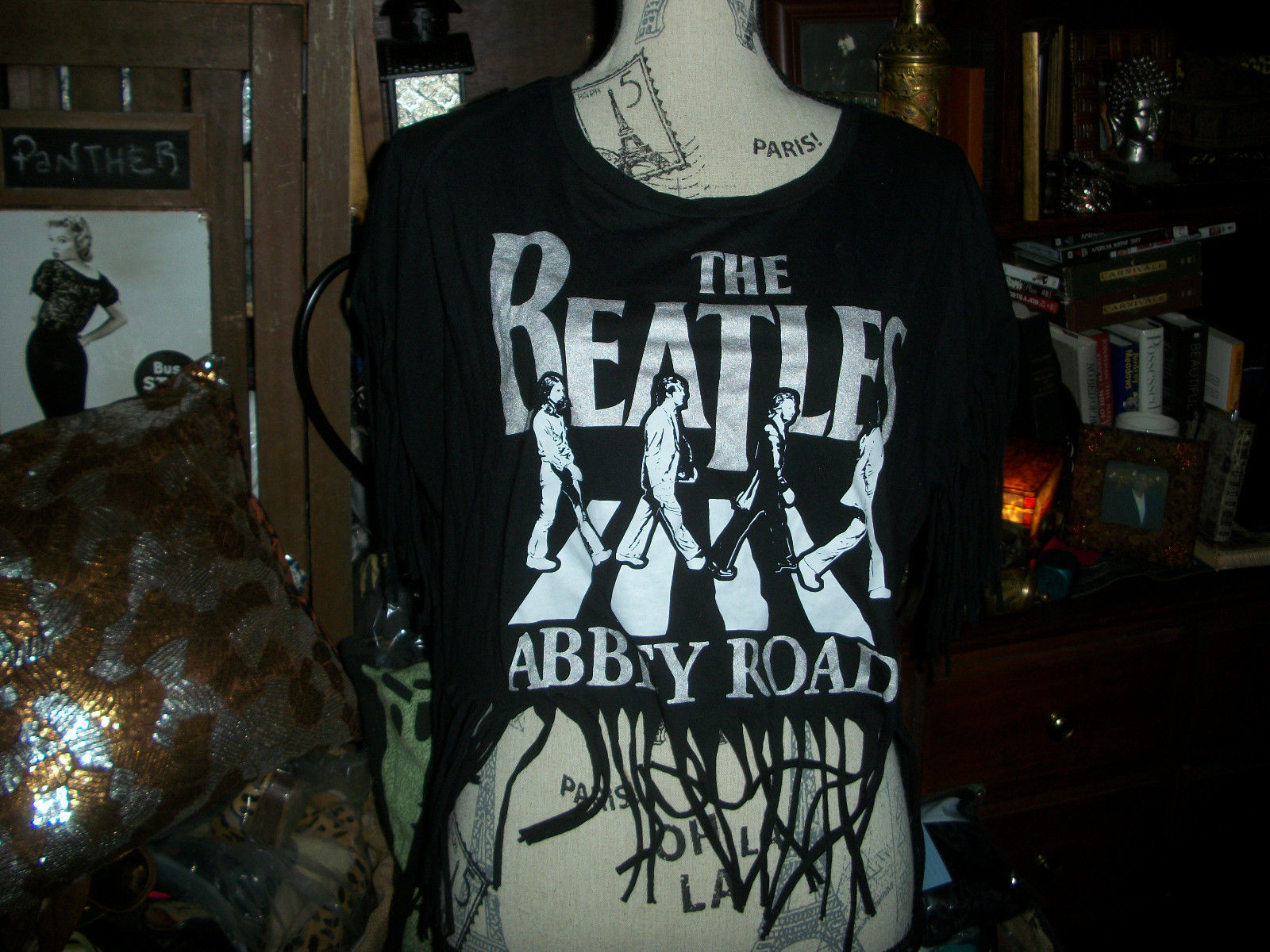 Primary image for THE BEATLES ABBEY ROAD Cool Jet Black Fringed Blouse Size XL