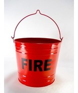 Fire Bucket Trash Can FLAT BOTTOM RED FIRE PAIL Large Ash - $29.99