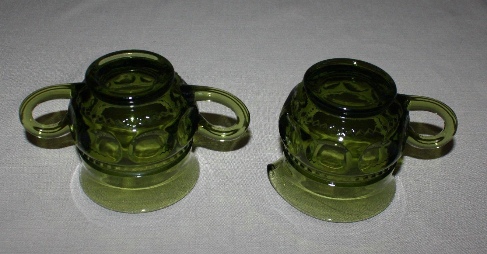 Creamer and Open Sugar Bowl Green Kings Crown Thumbprint Indiana Glass