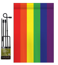 Rainbow - Applique Decorative Metal Garden Pole Flag Set GS106020-P2 - $29.97