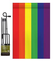 Rainbow - Applique Decorative Metal Garden Pole Flag Set GS106020-P2 - $29.97