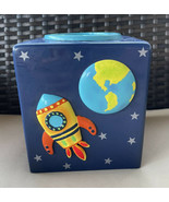 """Ceramic Rocket Ship And Outer Space Tissue Box 6"""" High Child Kids Bathro... - $14.99"""