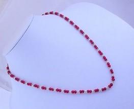 Kashmiri Ruby Beaded Necklace Jewelry 17 Gr. f-361 - $5.43