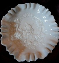 WINDMILL scene Milk Glass bowl Imperial Glass? detailed scalloped edge - $21.77