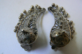 Vintage Silver Plate Filigree Paisley Dome Design Bell Charms clip on Earrings - $24.75