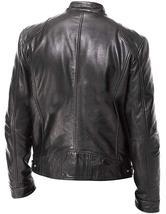 Mens Motorcycle Vintage Cafe Racer Retro Black Biker Leather Jacket image 2