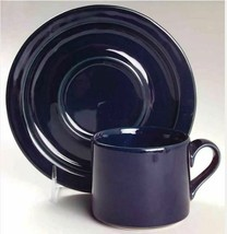 "Flat Cup & Saucer Set Bisserup Blue Dark (Made In Japan) by DANSK Height 2 3/4""  - $7.69"
