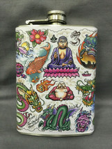 Asian Art Tattoo D 212 Flask 8oz Stainless Steel Drinking Whiskey Cleara... - $9.90
