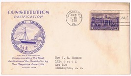 1938 Constitution Ratification 3c Issue 835 FDC Grimsland - $7.92
