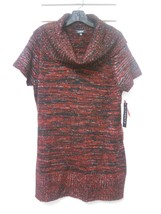NEW NWT Macy's Elementz Metallic Red Black Cowl Neck Tunic Sweater Dress... - $19.60