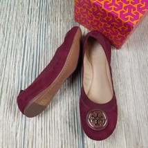 New TORY BURCH sz 6.5/7/7.5 dark red suede gold tone logo slip on flats ... - $133.00