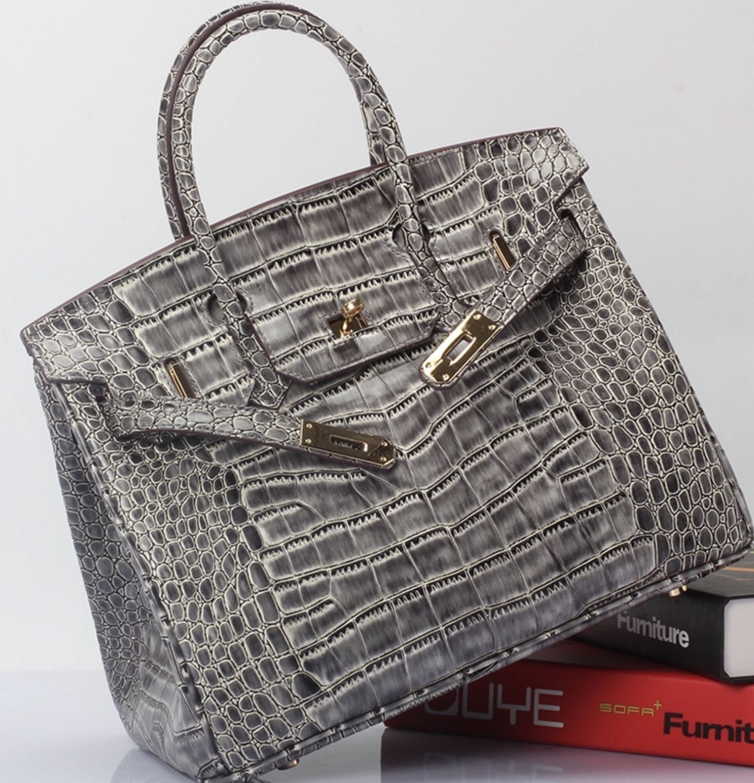 25cm Crocodile Embossed Italian Leather Birkin Style Satchel Handbag 1632S