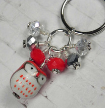 Red Owl Cluster Keychain Ceramic Crystal Beaded Handmade Split Key Ring New - $14.54