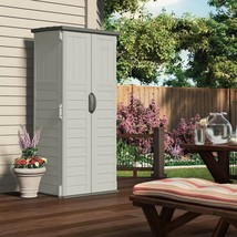 Outdoor Storage Shed Tall Garden Tool Cabinet Vertical Plastic Utility Y... - $213.83