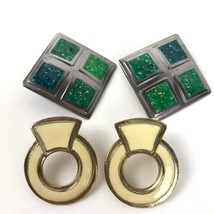 Vintage Earring Lot Two Pairs pierced mod Metal Boho Enamel Geo statement - $9.89